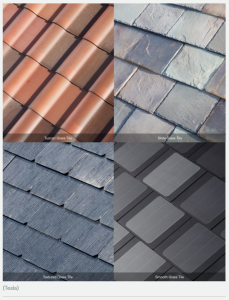 a photo of the different rooftop designs or styles offered in relation to Tesla rooftop solar shingles