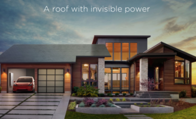 a photo containing a digital rendering of Tesla rooftop solar shingles on a house