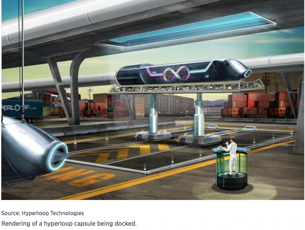 Futuristic Hyperloop Dock where people will load and unload.