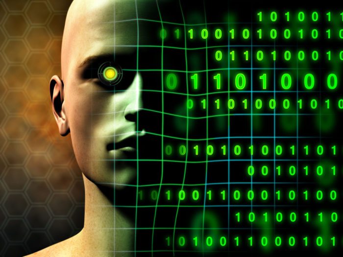 a photo of a cyborg with green machine eyes beside green binary numbers amid the reality of the Elon Musk Neural Link idea
