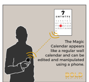 a photo that contains a silhouette of a man with a phone, a calendar on the wall, and a short information about the Magic Calendar on the side