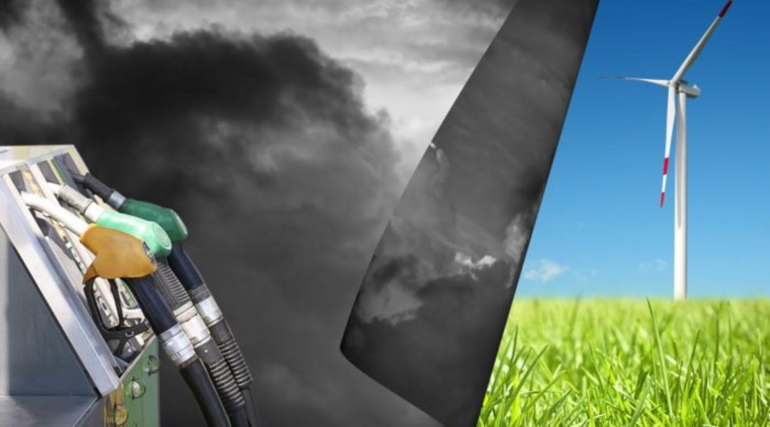 a photo of a green field seemingly under another photo of black smoke and gasoline station pumps amid concerns about United States pollution problems