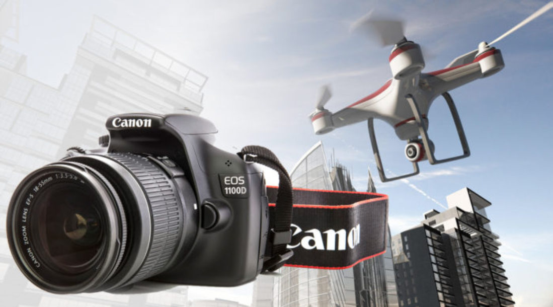 a photo of a Canon drone with its accompanying high-resolution camera model