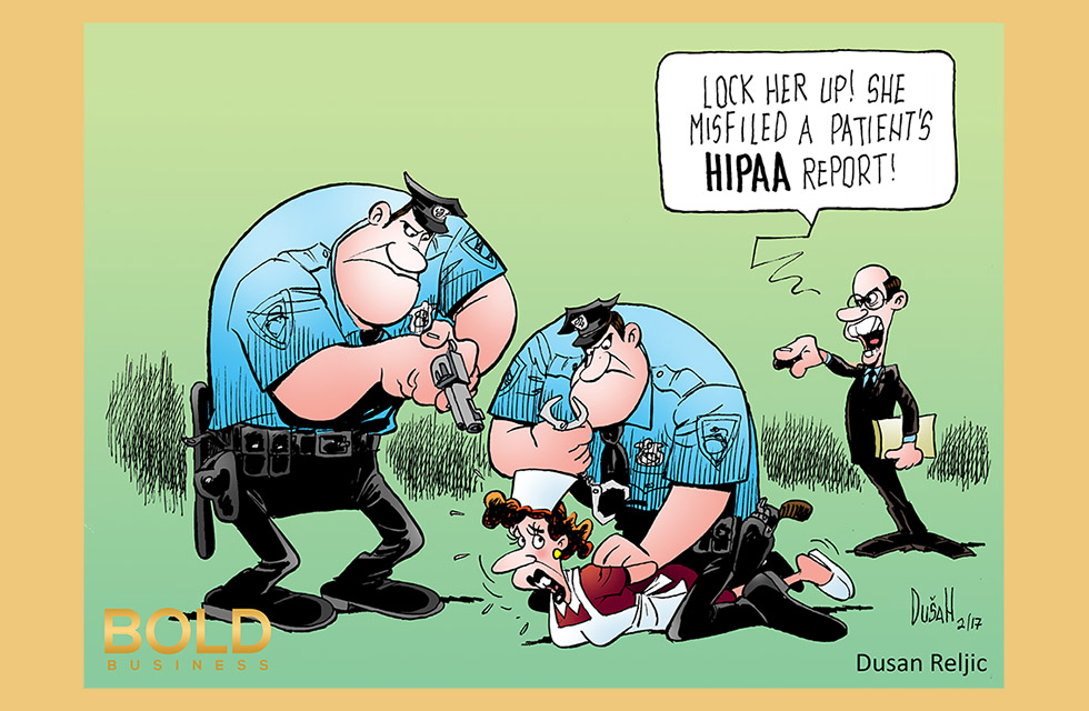 Political cartoon depicting nurse violating HIPPA regulations and being jailed by police for it.