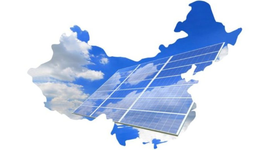 a photo of a United States map with a face of a sky reflected on a solar panel amid the discussion on China Solar Energy details