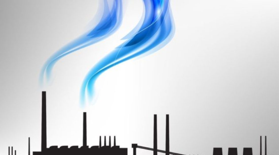 a photo of a factory's silhouette producing a visible blue-colored smoke from its chimneys amid the reality of Clean Air Act violations