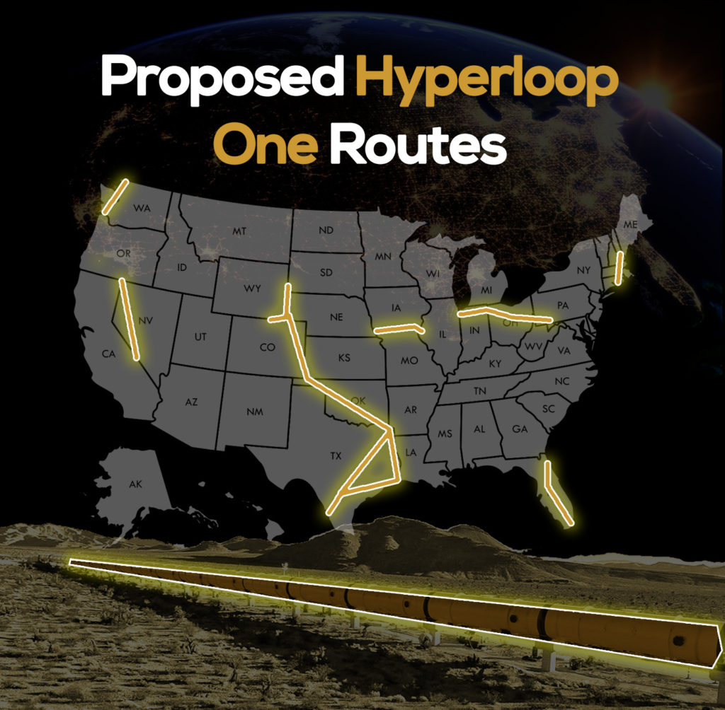 Hyperloop One routes - transportation