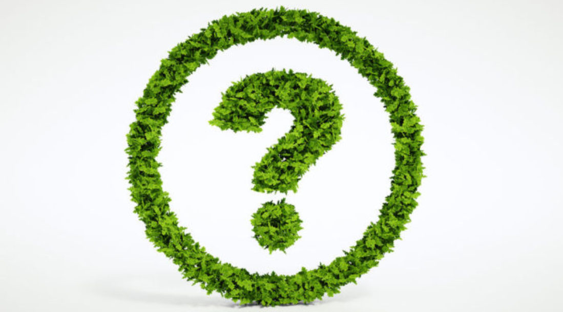 a photo of a question mark made of green grass encased in a circle that's also made of green grass amid the news that EPA regulations rolled back under Trump