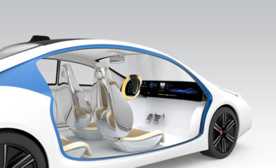 computer generated photo of a white and blue audi driverless car