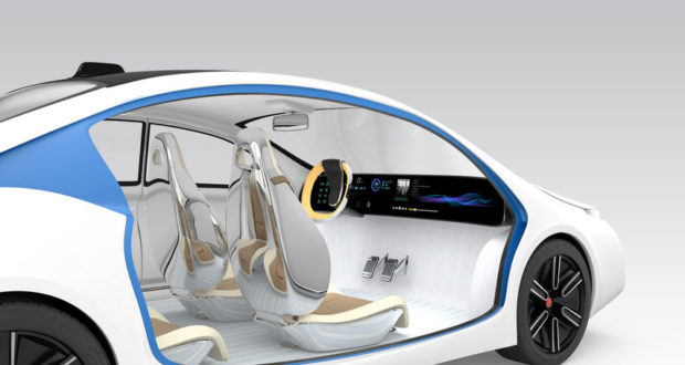 computer generated photo of a white and blue driverless car