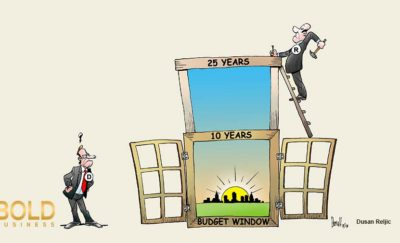 Man builds a wider window while another looks on, thus symbolizing the building of a bigger US government budget window