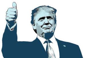 Trump gives thumbs up.