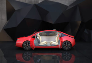 computer generation of a red four door Audi driverless car