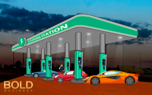 cartoon demonstrating cars filling up their batteries at electric car charging stations
