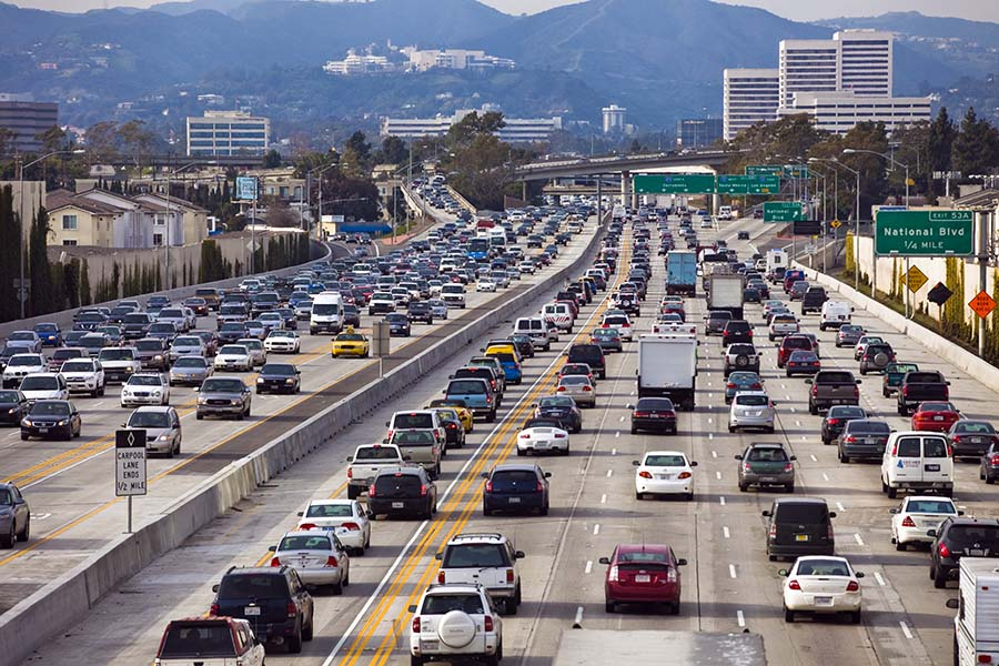 traffic on highway in LA, the boring company has innovative solution for congested traffic