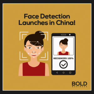 Infographic detailing China facial recognition technology on smartphones