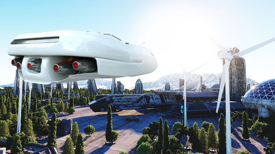 Futuristic City With Flying Cars