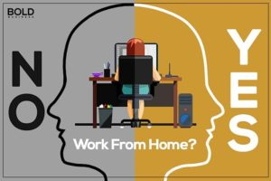 A yes or no depiction, with a woman working at her desk.