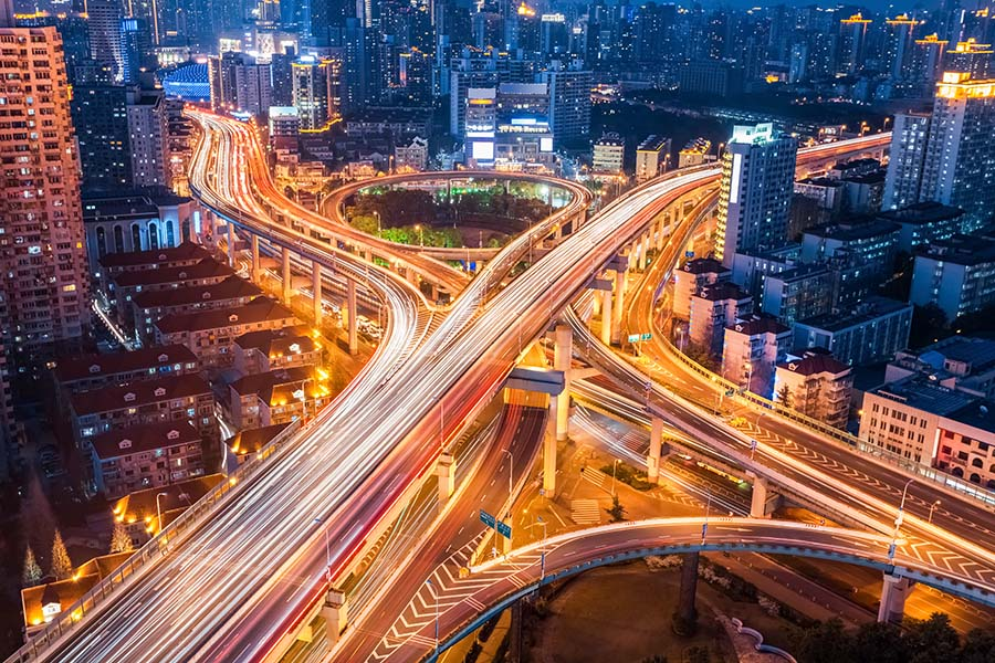 Highways system at night