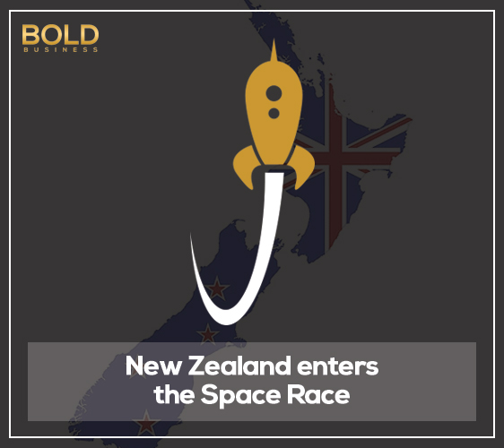 a cartoon rocket launching from New Zealand map amid the reality of the successful Rocket Lab Electron Rocket Launch