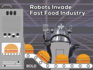 A robot making hamburgers - an example of automation in fast food industry.