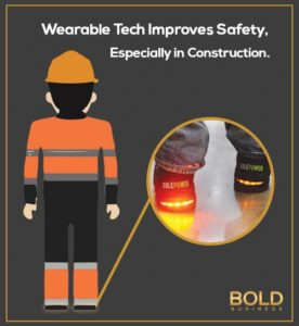 A construction worker illustrating wearable safety innovations in the workplace.