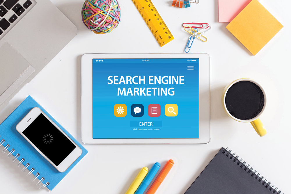 search engine marketing on a tablet