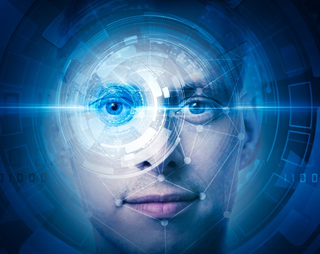 image of facial recognition software on a man's face