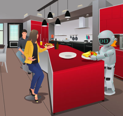 Illustration of a robot serving food.