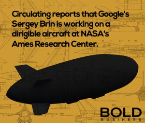 Infographic of Google's secret dirigible aircraft silhouette.
