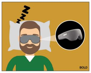 man asleep with goggles
