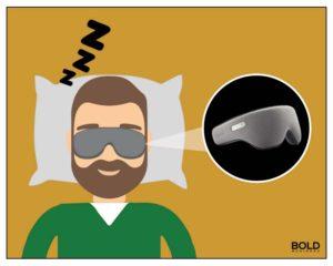 man asleep with goggles