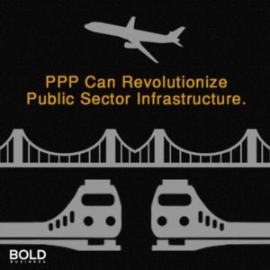 private-public partnerships for infrastructure examples including a plane, bridge, and train on black background.
