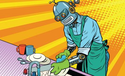 a cartoon of a robot washing dishes in a kitchen amid the availability of a Moley Robotic Kitchen
