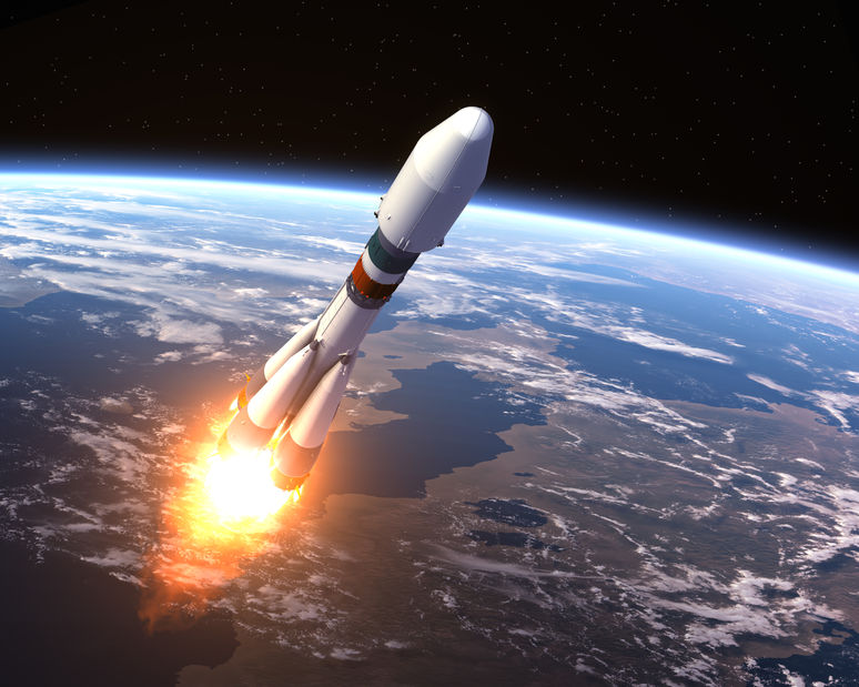3D rocket launches into space from Earth