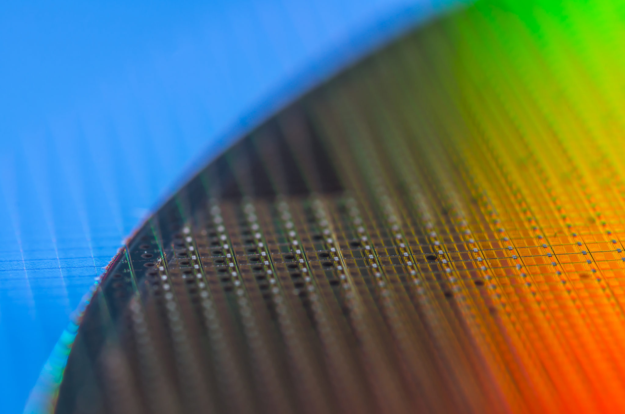 Closeup photo of ferroelectric nanogenerator silicone wafer that generates kinetic power.