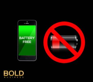 Cell phone and a battery with a no sign.