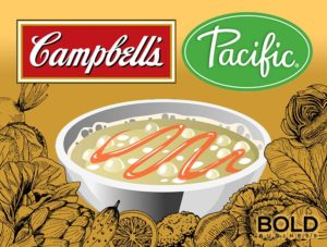 Campbells and Pacific Logos with bowl of soup.