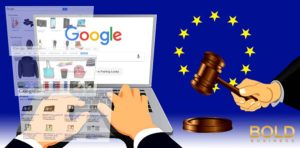 A google screen and the EU symbol and a gavel.