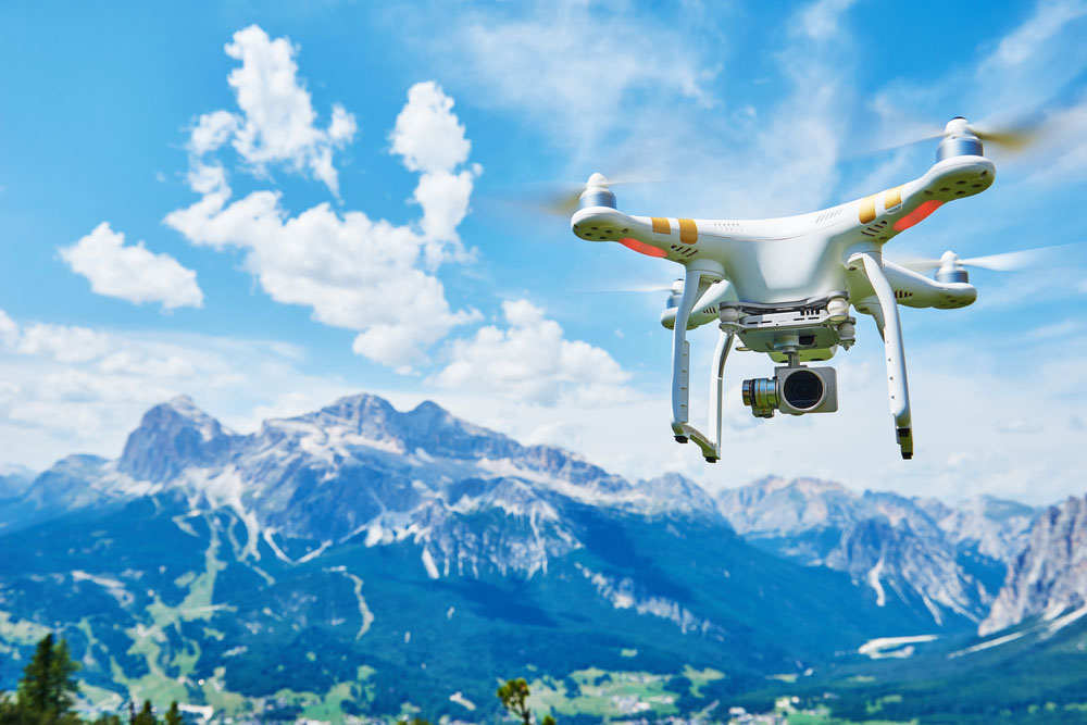 Drone with mountain in background.