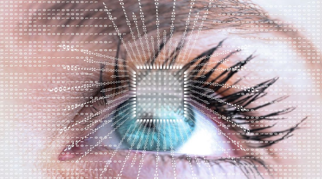 a photo of a futuristic eye with data and computer chip amid mankind's search for the cure for blindness
