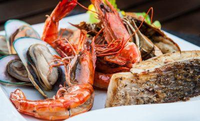 Seafood on a platter