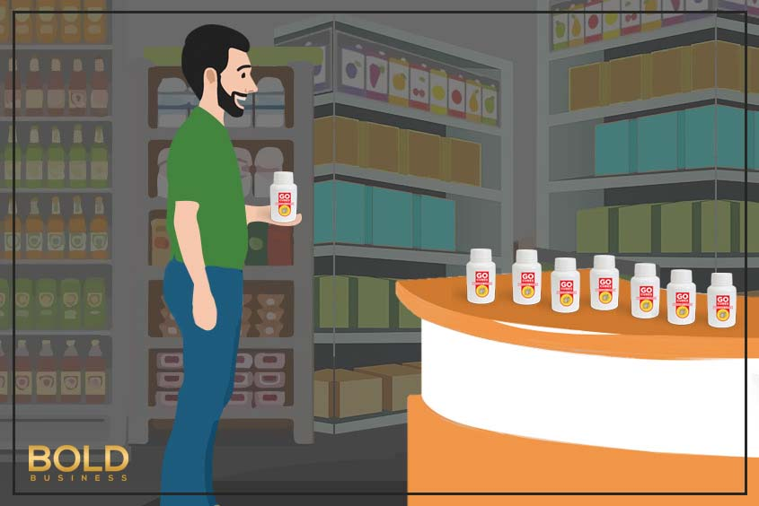 a cartoon of a man buying Go Cubes for biohacking