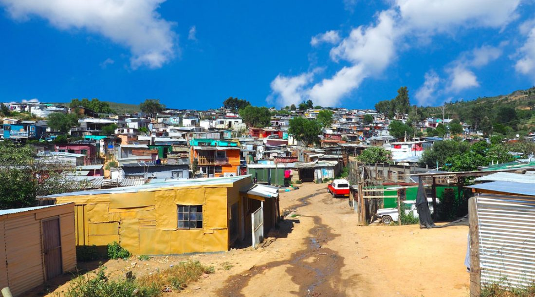 a picture of an informal settlement in Africa without electricity and potentially in need of a gravity-powered electricity generator