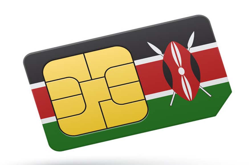 Sim card with Kenya flag - mobile phone money transfer from MPESA faces mVisa competition