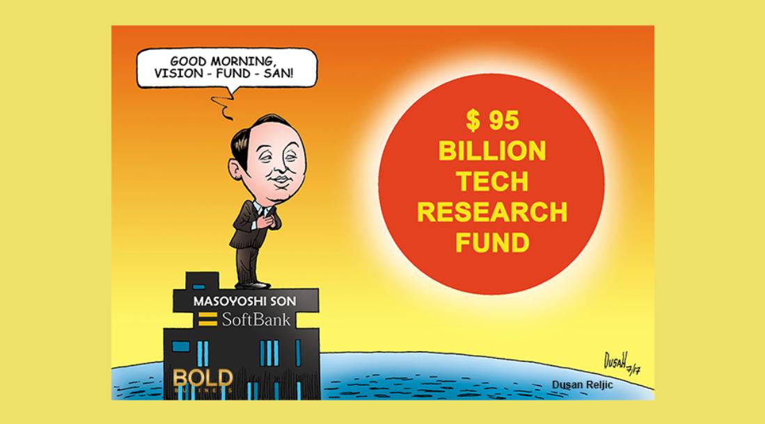a cartoon of SoftBank CEO Masayoshi Son looking at the rising sun