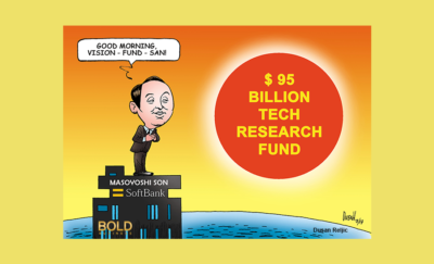 A picture of Masayoshi Son and the Rising Sun.