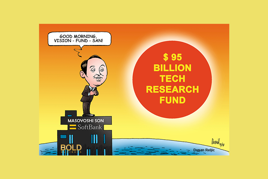a cartoon of SoftBank CEO Masayoshi Son looking at the rising sun
