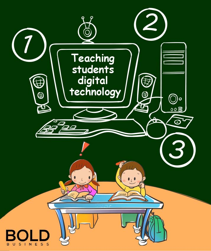 a cartoon of two kids in front of a chalkboard with a sketch of a computer and steps drawn on the board amid NZ's move to introduce digital technology in education