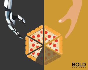 A picture of a robot hand and a human hand, making pizza.